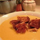 Cream of Pumpkin Soup - Whole wheat cinnamon croutons top this creamy soup made with chicken broth, pumpkin puree and traditional pumpkin pie spices.