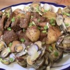 Pork with Clams - An easy, tasty pork and clams recipe made by my Portuguese in-laws at every chance they get!  Add a little bit of chili powder or crushed chilies for extra zing.  Great for company!