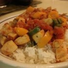 Acapulco Chicken - A spicy stir fry blending chicken breast, tomato, onion, bell pepper, jalapenos and hot pepper sauce!