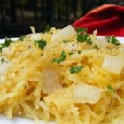 Spaghetti Squash Saute - This simple side dish made with spaghetti squash, onion, and garlic can be served with just about anything.