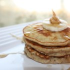 Banana and Peanut Butter Pancakes - Silver dollar pancakes packed with little chunks of banana and a hint of peanut butter.