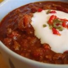 Chili con Carne II - Spicy chili with ground beef, kidney beans, tomatoes, onions and garlic. Can be served over rice.
