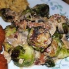 Brussels Sprouts in a Sherry Bacon Cream Sauce - Roasted Brussels sprouts make an elegant side dish when served in an intensely savory sherry-cream sauce flavored with mushrooms and bacon.