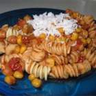 Southwestern Vegetarian Pasta - Tomatoes, chickpeas and corn are simmered with chili powder and cumin and served over pasta.