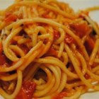 Homemade Tomato Basil Pasta Sauce - Fresh tomatoes and basil are quickly simmered with garlic to make a tasty pasta sauce.