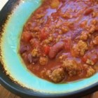 Washabinaros Chili - This thick chili with sausage, ground beef, tomatoes, coffee and beer is also spiced with wasabi!