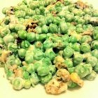 Carmel's Crunchy Pea Salad - Cashews and crumbled bacon make the crunch in this wonderful salad. If you make it in the summer and have fresh-from-the-garden peas, great, but frozen peas are super too. Peas, celery and chopped green scallions are folded into sour cream and then topped with the cashews and the bacon.