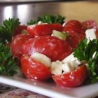 Simple Feta Cheese Salad - This simple mix of feta cheese, tomatoes, and onion tossed with olive oil and lemon juice makes a great appetizer or side dish salad.
