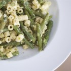 Creamy Macaroni with Asparagus Without the Cream - In the spring when the asparagus is at its peak, make this simple Italian pasta dish with fresh asparagus, Romano cheese, and eggs.