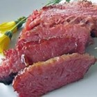 Mustard Glazed Corned Beef - This is a great tasting, tender corned beef that you simmer in seasonings then glaze and finish in the broiler.  Great tasting and a nice alternative to the traditional boiled corned beef.  So easy and only a few ingredients.