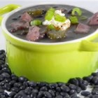Patty's Mom's Black Bean Soup - Black beans are soaked overnight then simmered with a smoked ham bone and vegetables and flavored with a hint of sherry.