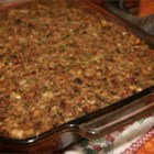 Sausage, Bacon, Apple and Cornbread Stuffing - A winner at any Thanksgiving dinner, sausage, bacon, apple chunks, mushrooms, celery, onions tossed with cornbread and bread cubes, make this savory stuffing a family favorite.
