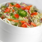 Spicy Southwestern Slaw - This is a spicy, flavorful coleslaw speckled with diced jalapenos, red bell pepper and cilantro.