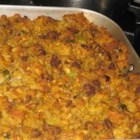 Cornbread Stuffing With Sausage - The name says it all! Ground sausage is cooked with celery and onions, then baked with cornbread, bread crumbs and chicken broth.