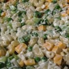 Cheddar and Macaroni Salad - Cooked macaroni takes on a comforting blend of sour cream, mayonnaise and Cheddar cheese. Sweet pickle relish and tender green peas add color and flavor. This simple pasta salad is best served after a good, long chill in the fridge.