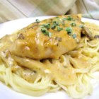 Angel Chicken Pasta - Bake chicken breasts in a delectably rich sauce made of butter, dry Italian salad dressing mix, wine, golden mushroom soup and cream cheese with chives. Serve over angel hair pasta for a dish that is fit for your most elegant dinner parties.