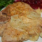 Easy Caramelized Onion Pork Chops - Five minutes of preparation, and then you can relax while the chops and onions simmer on the stove. Great with parsley potatoes!
