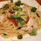 Linguine with Chicken and Vegetables in a Cream Sauce - Moist chicken breasts are served with linguine in a creamy sauce dotted with broccoli, zucchini, and mushrooms.
