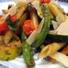 No-Cream Pasta Primavera - Spring veggies benefit from a quick roasting in olive oil and herbs before being tossed with penne. No cream here, just the fresh flavors of olive oil, balsamic vinegar, and lemon.