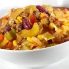 Diann's Chili Vegetable Soup - A melange of onions, celery, green bell peppers, cabbage, and kidney beans bring this chili to the height of flavor and enticement after a hard days' work. Tomato juice and vegetable juice cocktail add a boost of flavor.