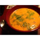 Carrot Dill Soup - A beautiful and tasty soup made with pureed carrots and fresh dill. If fresh herbs are not available, use 1/3 of the amount for dried herbs.