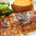 Balsamic-Glazed Salmon Fillets - A glaze featuring balsamic vinegar, garlic, honey, white wine and Dijon mustard makes baked salmon fillets extraordinary.
