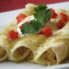 Green Sauce Enchiladas - A little extra attention to the rice results in a particularly well-flavored enchilada with chicken, Monterey jack cheese and corn.