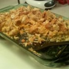 Chicken Noodle Casserole II - Convenient and economical, this dish combines chicken with vegetables and noodles in a cream sauce, snug under a Monterey jack cheese and bread topping.