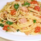 Pasta With Tuna Sauce - Canned tuna is used to make this yummy tomato sauce. Use pasta of your choice.
