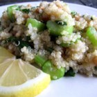Lemony Quinoa - Quinoa is a high-protein, good for you grain, it can be substituted for couscous and makes a lovely side dish.  This recipe is a crunchy, lemony, healthy dish that can be used as a side or as a light meal.