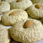 Almond Macaroons I - Top traditional macaroons with chopped almonds.