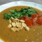 African Sweet Potato and Peanut Soup - Peanut flavor is balanced by warm spices and the earthy sweetness of sweet potatoes.