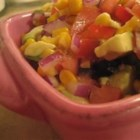 Tomato, Corn and Avocado Salsa - This salsa is quick and easy to make. It's colorful and most important, it's delicious! Whenever I take it to a party, I bring the recipe along because I'm always asked for it. Serve with tortilla chips; colored ones are fun!