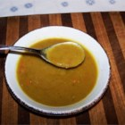 Split Pea and Ham Soup II - Dried split peas are cooked with a ham bone, carrots, onion and garlic covered in water.  Season with plenty of freshly ground black pepper.