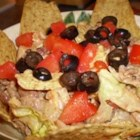 Messy Taco Salad - A wonderful picnic, potluck or 3-day dinner. Quick and easy and everyone seems to love it.  Optional toppings include chopped tomatoes and olives. I love to have this heated a bit the next day or two!!!