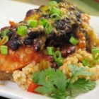 Mexican Chicken I -  Seasoned black beans, salsa and red bell pepper partnered with chicken make a robust and spicy meal.