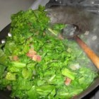 Spicy Collard Greens - Collard greens are cooked with bacon and vinegar, with salt, pepper and cayenne.