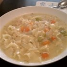 Steve's Chicken Noodle Soup - This easy chicken soup uses low-fat, low-sodium chicken broth and  is packed with fresh herbs, egg noodles, carrots and celery.