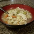 Great-Aunt Nina's Noodles and Chicken - To a slow cooker chicken,  I added an old family noodle recipe. If you want it to be more like a soup, add another quart of broth. This was a fixture at family reunions when I was a child, and the slow cooker makes it even easier.