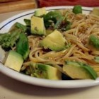 Hallelujah Noodles - This cold pasta salad features greens, imitation crabmeat, cilantro, avocado, and a tart dressing.