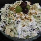 Grape Banana Salad - In this salad sliced bananas, grapes and walnuts are folded into real whipped cream.  Serve with breakfast, lunch, or at a Thanksgiving dinner.