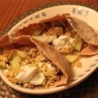 Apple Curry Turkey Pita - This is great for turkey leftovers. Simple, quick and flavorful. This is a good one for substitutions too. I've used white wine in place of lemon, sour cream in place of yogurt, chicken in place of turkey and Indian naan in place of the pita. Enjoy!