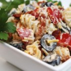 Bacon Ranch Pasta Salad - This is a very flavorful pasta salad. The crisp cooked bacon really adds a nice flavor. I get requests for this pasta salad for every get together and cook out.