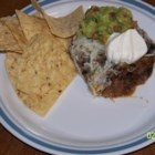 Ruthann's Beefy Bean Dip - A hot and hearty Mexican inspired dip. Increase the burn factor with sliced jalapenos!