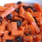 Carrots with Dried Cherries - Carrots glazed with honey with the tart addition of dried cherries. Dried cranberries can also be used. Even carrot haters like this.