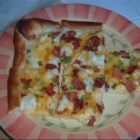 Starkey's Mashed Potato Pizza - Mashed potato pizza is a pizza using mashed potatoes instead of sauce.  I modeled it after a pizza I had at Willoughby Brewing Company, if you like this one, try the original! You can use any toppings you like on your baked potatoes, this is how I like it.  Bon Appetite!