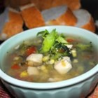 Meghan and Jenn's Veggie, Chicken and Herb Soup - This one-step soup is full of broccoli and chicken seasoned with basil, oregano, rosemary and a hint of garlic.