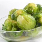 Brussels Sprouts in Mustard Sauce - A corn starch thickened mustard sauce adorns these Brussels Sprouts cooked in chicken broth.