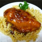 Mom's Chicken - A super easy chicken dish with only four ingredients, yet it's yummy! Sweet plum jam and tangy barbecue sauce make this chicken a real crowd pleaser.