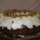 Pat's Award Winning Carrot Cake - A moist carrot cake made with both baby food carrots and grated carrots, plus chopped pecans and coconut, baked in a Bundt pan. Decorate with cream cheese frosting and chopped pecans, if desired.
